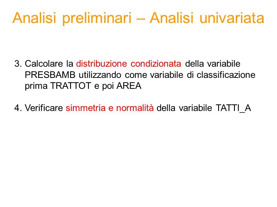 Analisi preliminari – Analisi bivariata 5.Costruire la tabella di contingenza tra le variabili CITYSIZE e AREA 6.Costruire la matrice di correlazione tra le seguenti variabili - ACQ_A - STOCK_A - CONS_A - ACQ_B - STOCK_B - CONS_B (suggerimento: utilizzare la PROC CORR senza il comando WITH) 7.Calcolare il coefficiente di correlazione lineare tra le variabili ACQ_A e CONS_A