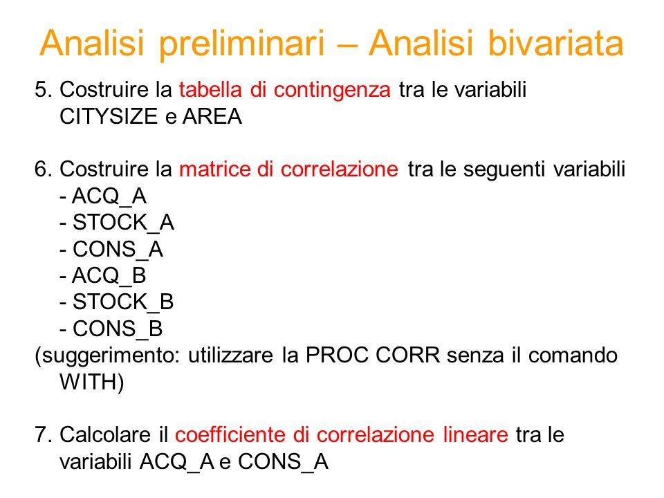 Analisi preliminari – Analisi bivariata 5.Costruire la tabella di contingenza tra le variabili CITYSIZE e AREA 6.Costruire la matrice di correlazione