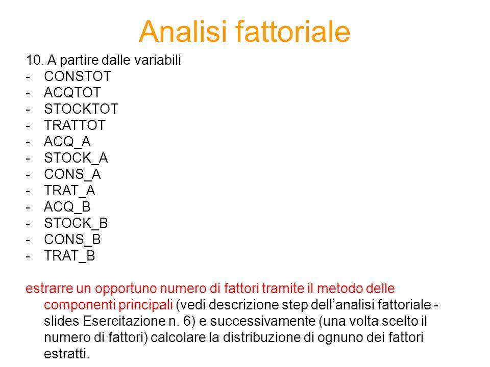 Analisi fattoriale 10.