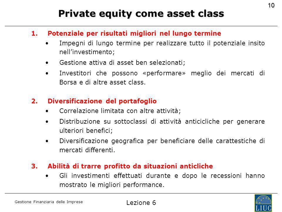 Gestione Finanziaria delle Imprese 10 1.Potenziale per risultati migliori nel lungo termine Impegni di lungo termine per realizzare tutto il potenziale insito nellinvestimento; Gestione attiva di asset ben selezionati; Investitori che possono «performare» meglio dei mercati di Borsa e di altre asset class.