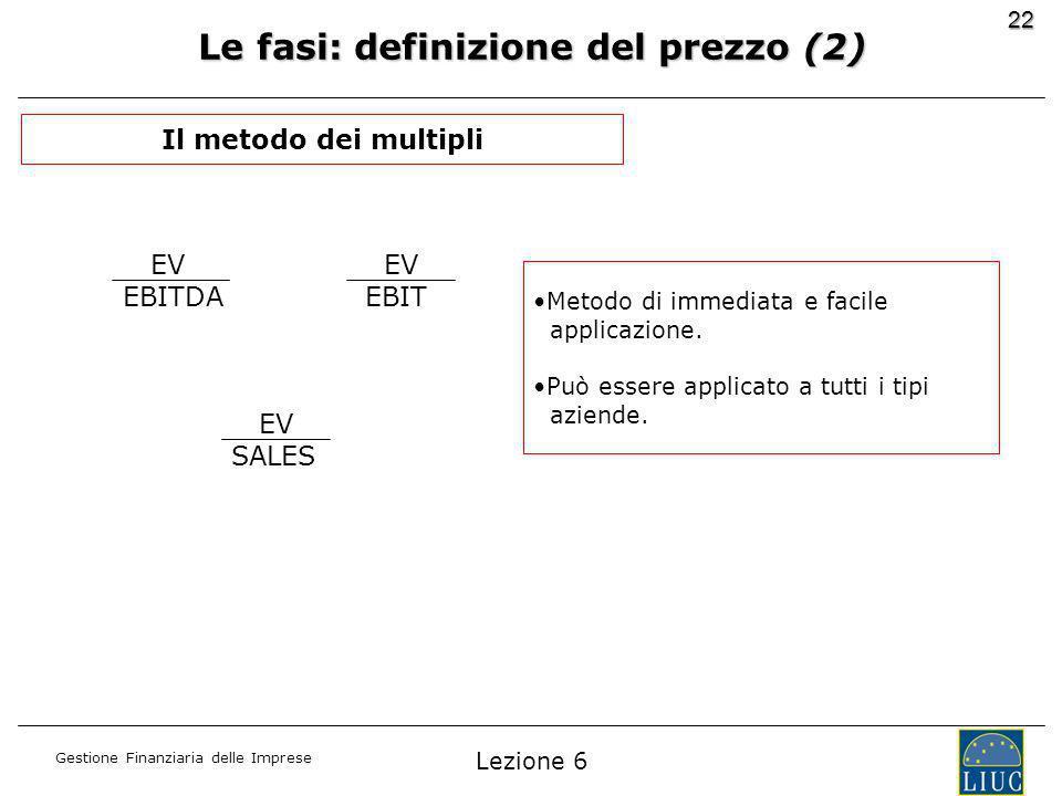 Gestione Finanziaria delle Imprese 22 Le fasi: definizione del prezzo (2) EV EBITDA EV EBIT EV SALES Metodo di immediata e facile applicazione.