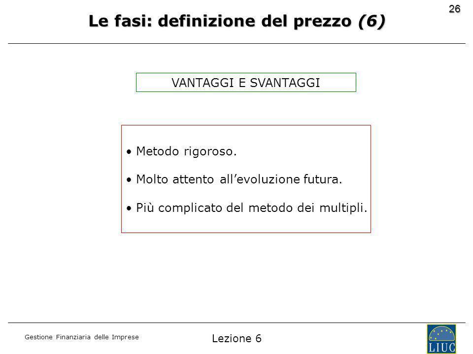 Gestione Finanziaria delle Imprese 26 Le fasi: definizione del prezzo (6) Metodo rigoroso.