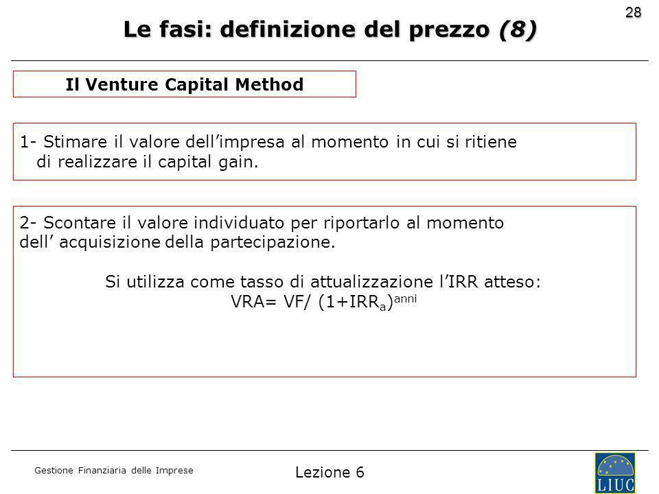 Gestione Finanziaria delle Imprese 28 Le fasi: definizione del prezzo (8) Il Venture Capital Method 1- Stimare il valore dellimpresa al momento in cui si ritiene di realizzare il capital gain.