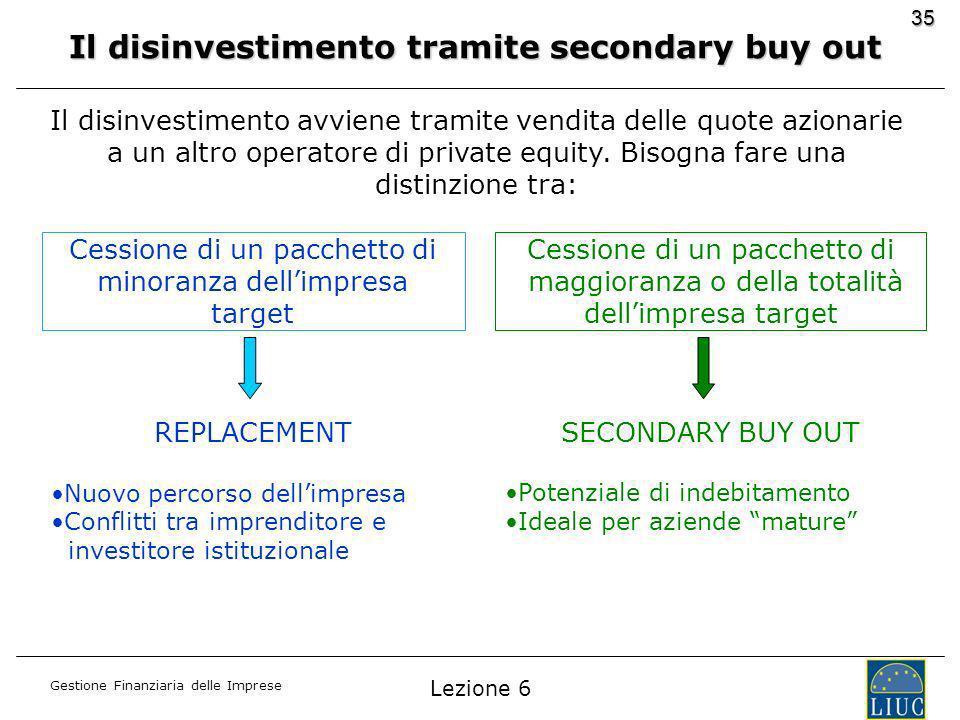 Gestione Finanziaria delle Imprese 35 Il disinvestimento tramite secondary buy out Il disinvestimento avviene tramite vendita delle quote azionarie a un altro operatore di private equity.