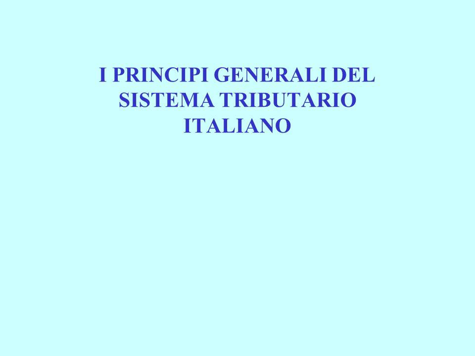 I PRINCIPI GENERALI DEL SISTEMA TRIBUTARIO ITALIANO