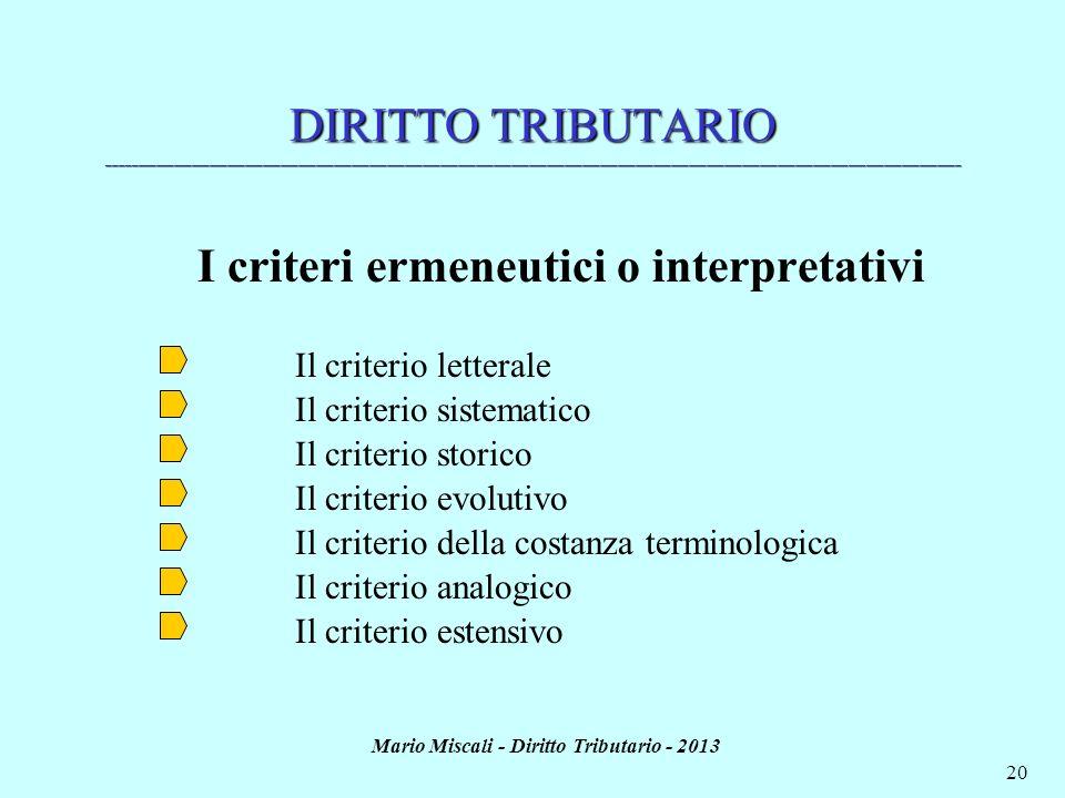 Mario Miscali - Diritto Tributario - 2013 20 DIRITTO TRIBUTARIO ______________________________________________________________________________________