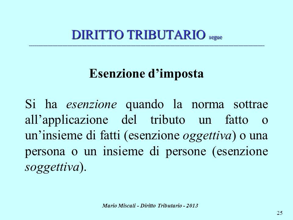 Mario Miscali - Diritto Tributario - 2013 25 DIRITTO TRIBUTARIO segue ________________________________________________________________________________