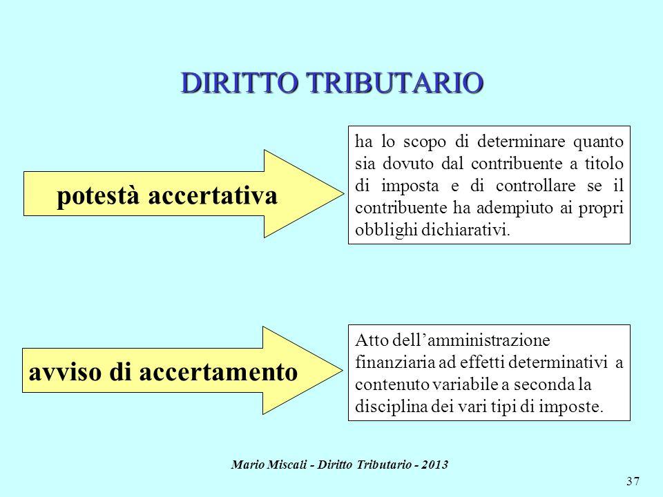 Mario Miscali - Diritto Tributario - 2013 37 DIRITTO TRIBUTARIO potestà accertativa ha lo scopo di determinare quanto sia dovuto dal contribuente a ti