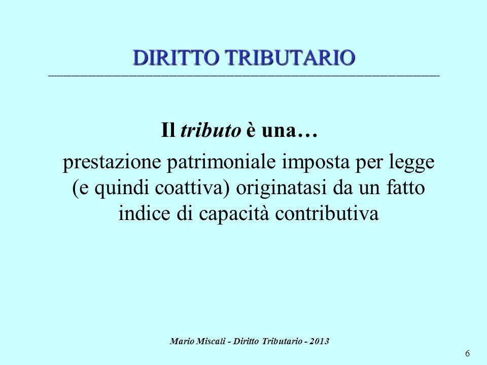 Mario Miscali - Diritto Tributario - 2013 6 DIRITTO TRIBUTARIO _______________________________________________________________________________________
