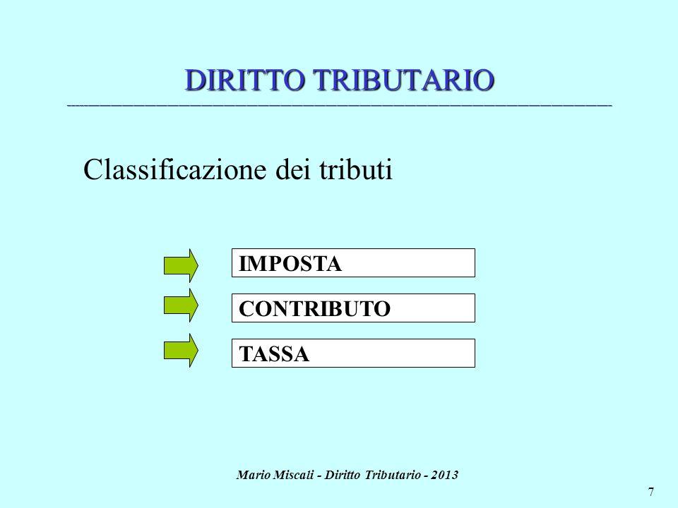 Mario Miscali - Diritto Tributario - 2013 7 DIRITTO TRIBUTARIO _______________________________________________________________________________________
