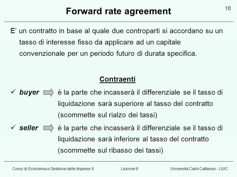 Corso di Economia e Gestione delle Imprese IIUniversità Carlo Cattaneo - LIUCLezione 8 10 Forward rate agreement E un contratto in base al quale due controparti si accordano su un tasso di interesse fisso da applicare ad un capitale convenzionale per un periodo futuro di durata specifica.