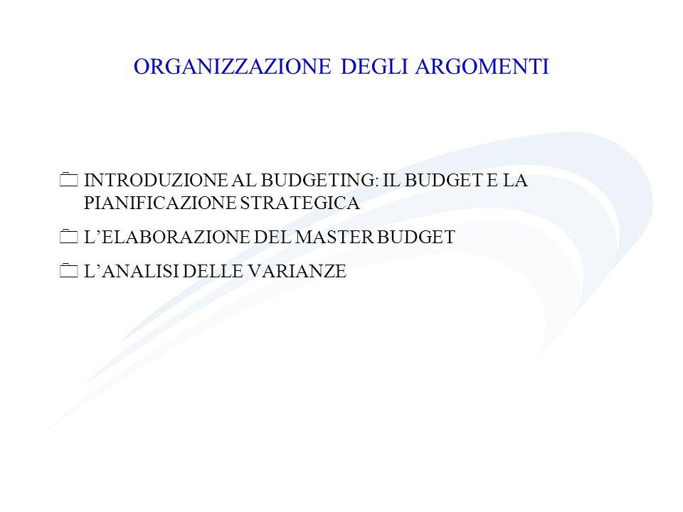ORGANIZZAZIONE DEGLI ARGOMENTI INTRODUZIONE AL BUDGETING: IL BUDGET E LA PIANIFICAZIONE STRATEGICA LELABORAZIONE DEL MASTER BUDGET LANALISI DELLE VARI