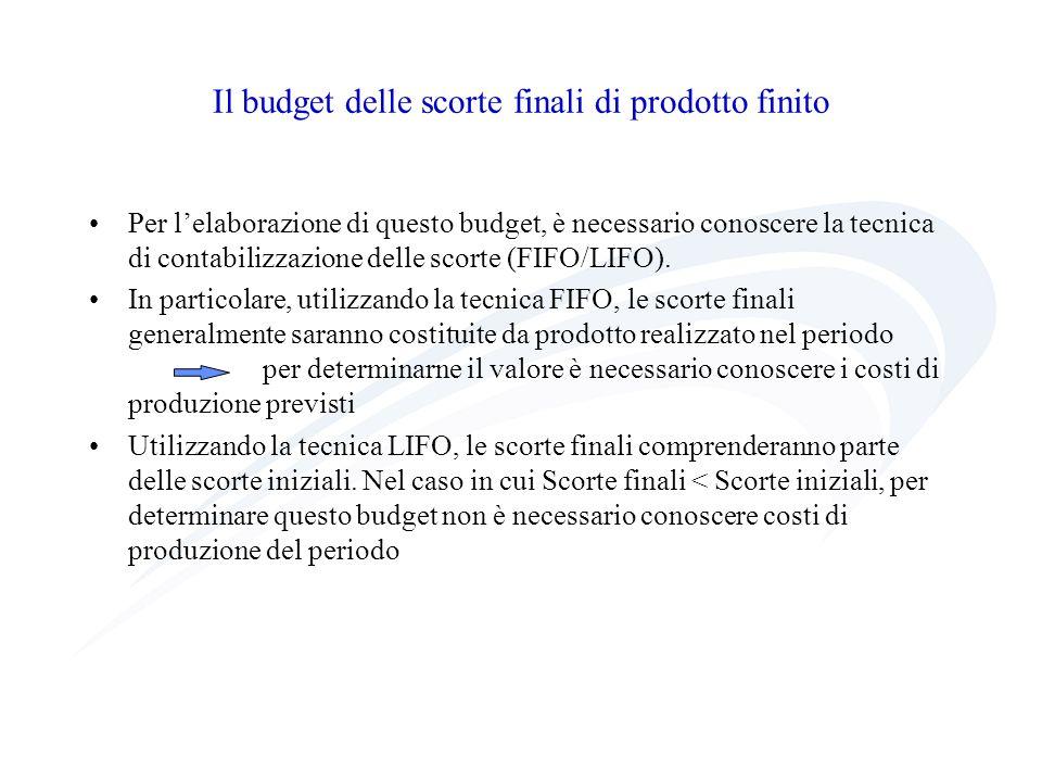 Il budget delle scorte finali di prodotto finito Per lelaborazione di questo budget, è necessario conoscere la tecnica di contabilizzazione delle scor
