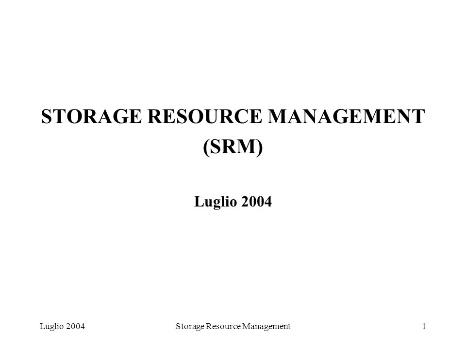 Luglio 2004Storage Resource Management1 STORAGE RESOURCE MANAGEMENT (SRM) Luglio 2004
