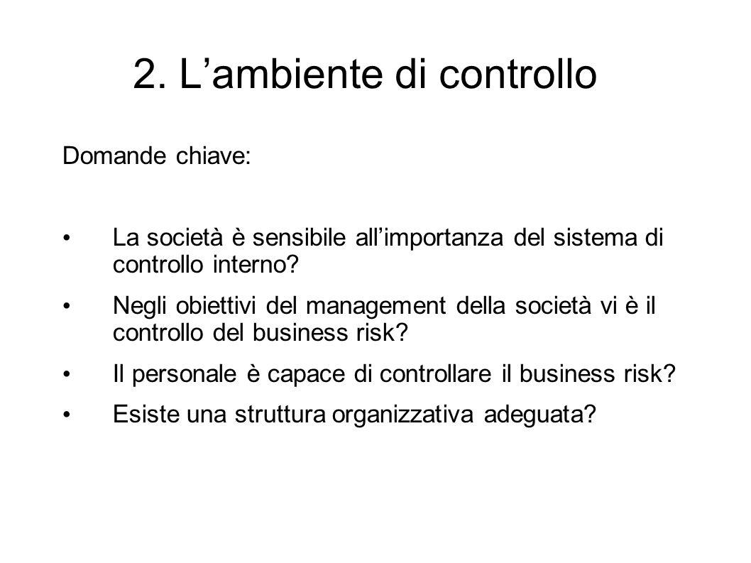 2. Lambiente di controllo Domande chiave: La società è sensibile allimportanza del sistema di controllo interno? Negli obiettivi del management della