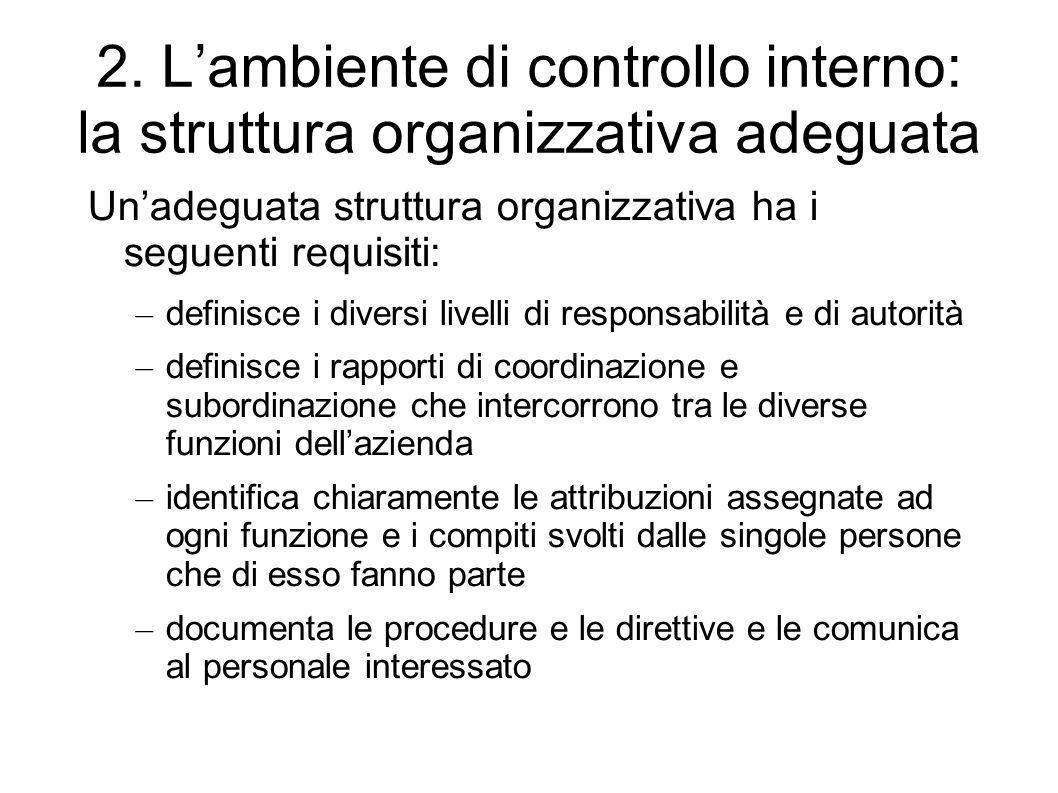 2. Lambiente di controllo interno: la struttura organizzativa adeguata Unadeguata struttura organizzativa ha i seguenti requisiti: – definisce i diver