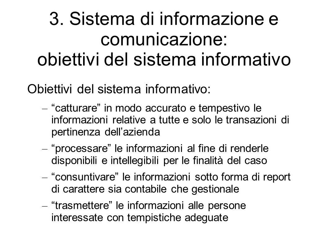 3. Sistema di informazione e comunicazione: obiettivi del sistema informativo Obiettivi del sistema informativo: – catturare in modo accurato e tempes