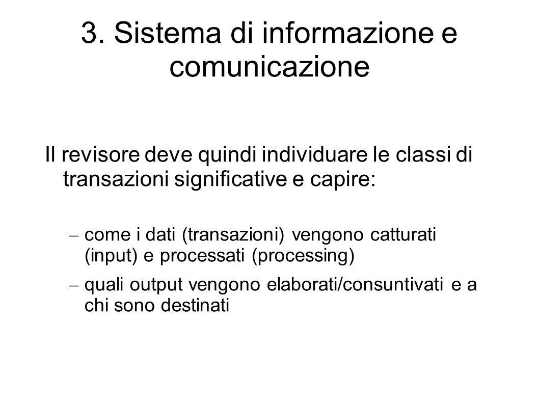 3. Sistema di informazione e comunicazione Il revisore deve quindi individuare le classi di transazioni significative e capire: – come i dati (transaz