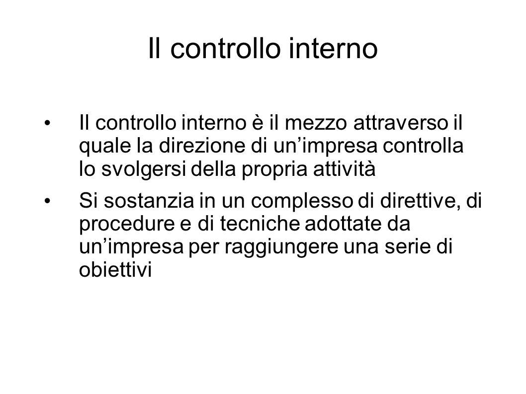 Il controllo interno Il controllo interno è il mezzo attraverso il quale la direzione di unimpresa controlla lo svolgersi della propria attività Si so