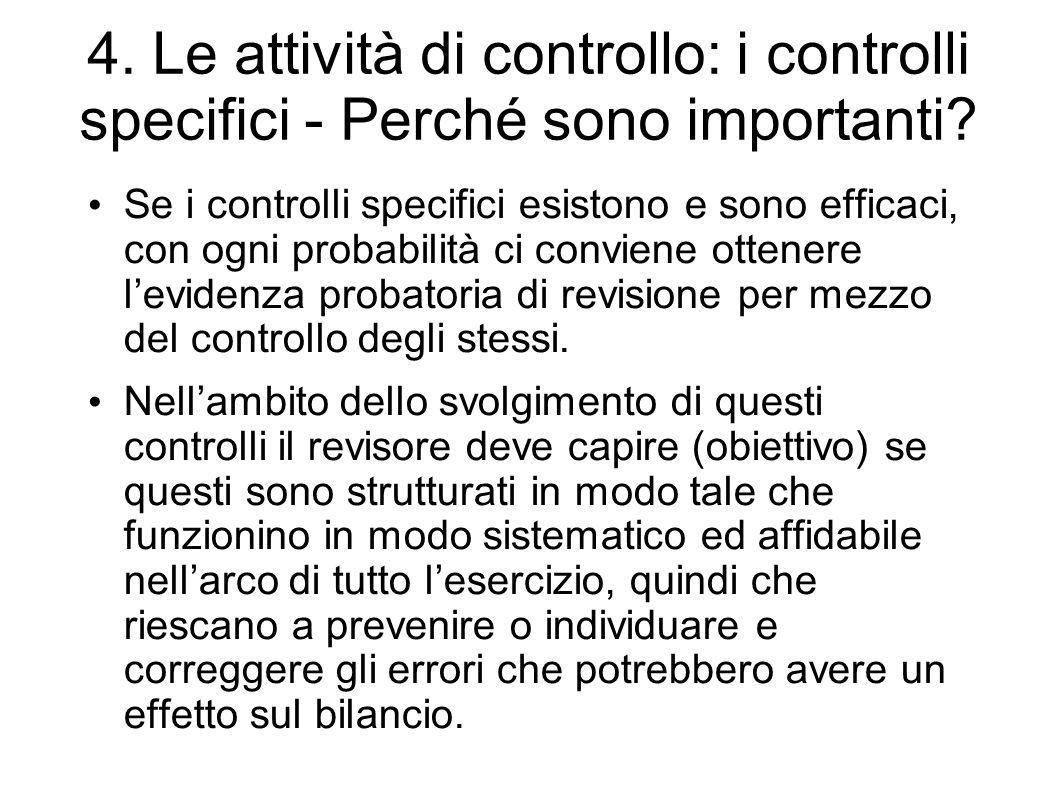 4. Le attività di controllo: i controlli specifici - Perché sono importanti? Se i controlli specifici esistono e sono efficaci, con ogni probabilità c