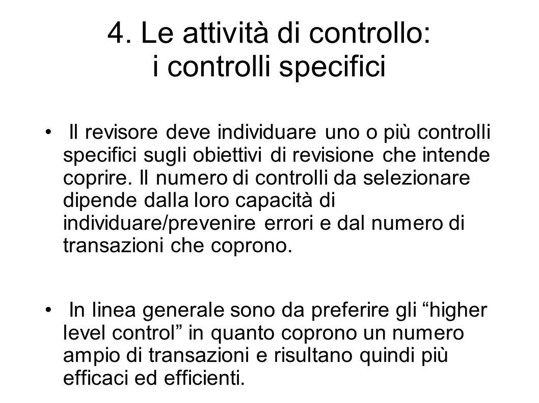 4. Le attività di controllo: i controlli specifici Il revisore deve individuare uno o più controlli specifici sugli obiettivi di revisione che intende