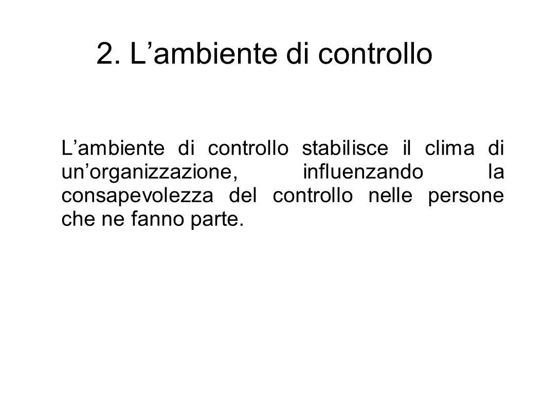 2. Lambiente di controllo Lambiente di controllo stabilisce il clima di unorganizzazione, influenzando la consapevolezza del controllo nelle persone c