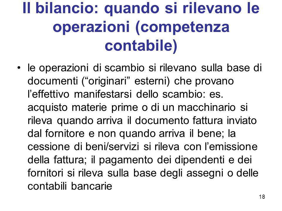 18 Il bilancio: quando si rilevano le operazioni (competenza contabile) le operazioni di scambio si rilevano sulla base di documenti (originari estern