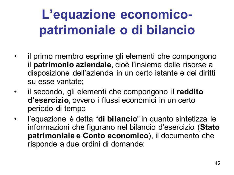 45 Lequazione economico- patrimoniale o di bilancio il primo membro esprime gli elementi che compongono il patrimonio aziendale, cioè linsieme delle r