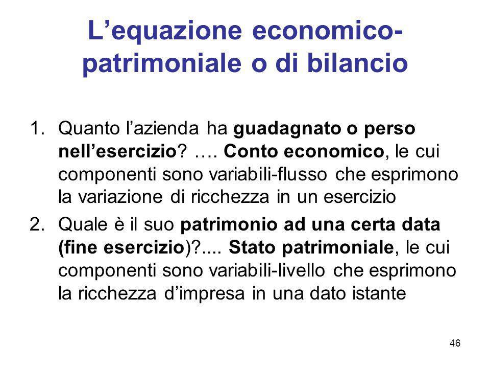 46 Lequazione economico- patrimoniale o di bilancio 1.Quanto lazienda ha guadagnato o perso nellesercizio? …. Conto economico, le cui componenti sono