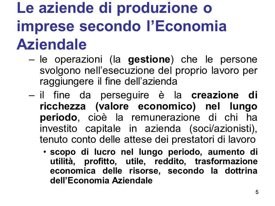 5 Le aziende di produzione o imprese secondo lEconomia Aziendale –le operazioni (la gestione) che le persone svolgono nellesecuzione del proprio lavor