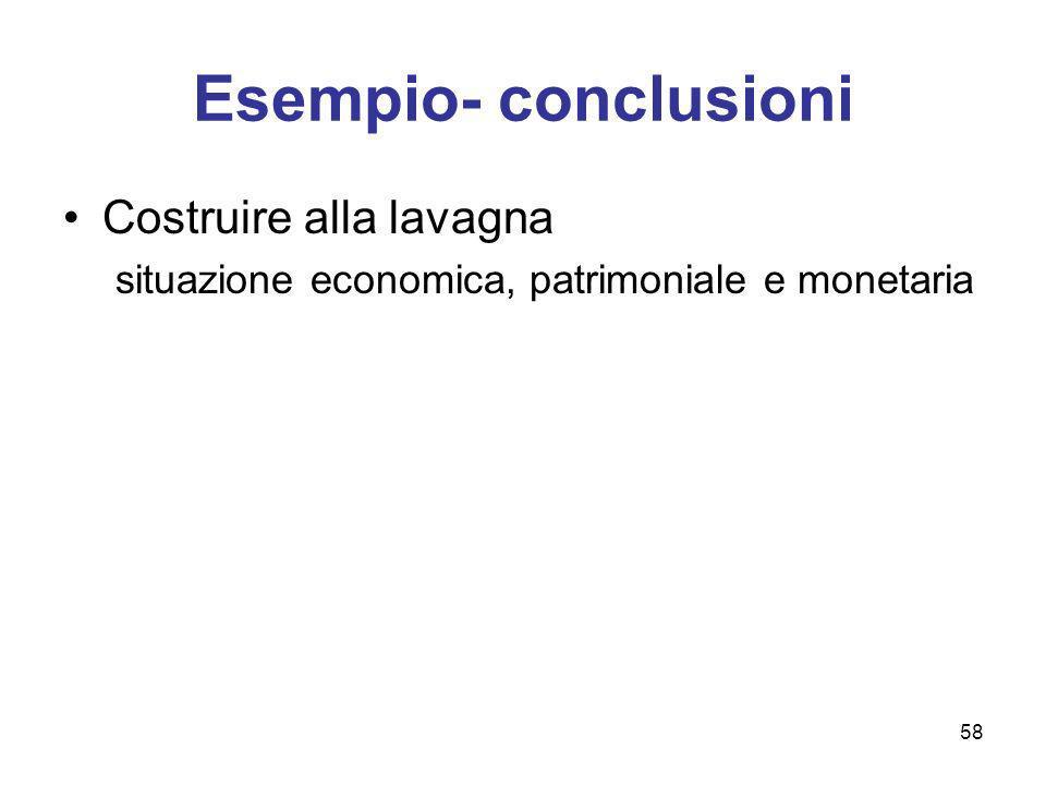 58 Esempio- conclusioni Costruire alla lavagna situazione economica, patrimoniale e monetaria