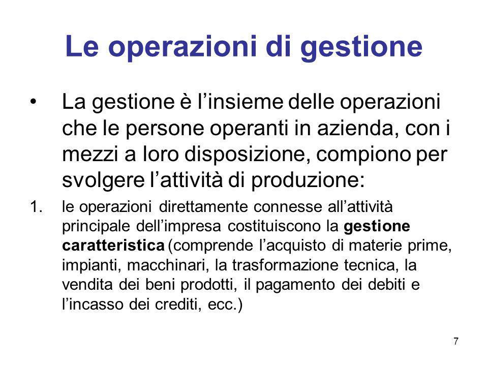 7 Le operazioni di gestione La gestione è linsieme delle operazioni che le persone operanti in azienda, con i mezzi a loro disposizione, compiono per