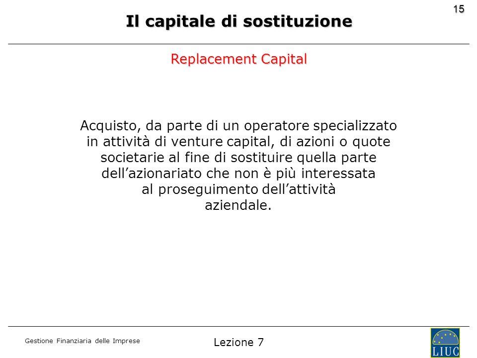 Gestione Finanziaria delle Imprese 15 Il capitale di sostituzione Acquisto, da parte di un operatore specializzato in attività di venture capital, di