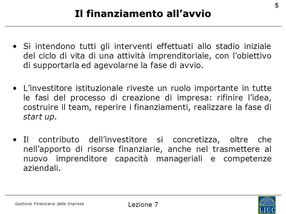 Gestione Finanziaria delle Imprese 5 Il finanziamento allavvio Si intendono tutti gli interventi effettuati allo stadio iniziale del ciclo di vita di