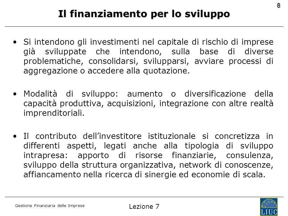 Gestione Finanziaria delle Imprese 8 Il finanziamento per lo sviluppo Si intendono gli investimenti nel capitale di rischio di imprese già sviluppate