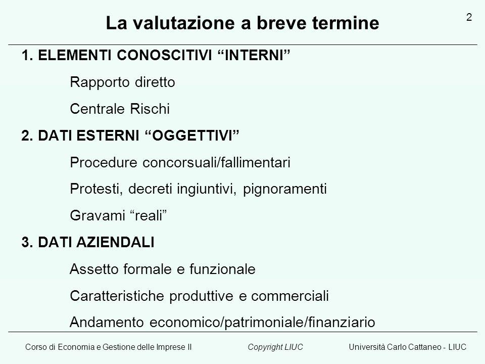 Corso di Economia e Gestione delle Imprese IIUniversità Carlo Cattaneo - LIUCCopyright LIUC 2 La valutazione a breve termine 1. ELEMENTI CONOSCITIVI I