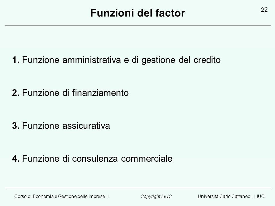 Corso di Economia e Gestione delle Imprese IIUniversità Carlo Cattaneo - LIUCCopyright LIUC 22 Funzioni del factor 1. Funzione amministrativa e di ges