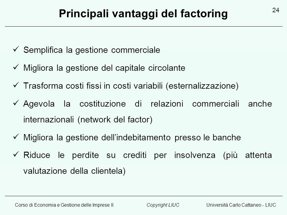 Corso di Economia e Gestione delle Imprese IIUniversità Carlo Cattaneo - LIUCCopyright LIUC 24 Principali vantaggi del factoring Semplifica la gestion