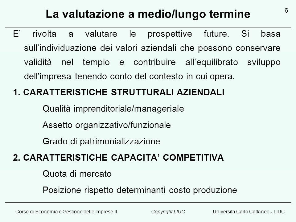 Corso di Economia e Gestione delle Imprese IIUniversità Carlo Cattaneo - LIUCCopyright LIUC 6 La valutazione a medio/lungo termine E rivolta a valutar