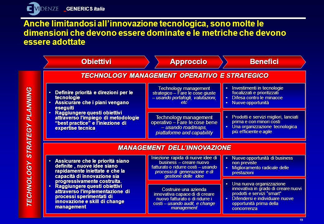 GENERICS Italia 19 Anche limitandosi allinnovazione tecnologica, sono molte le dimensioni che devono essere dominate e le metriche che devono essere a