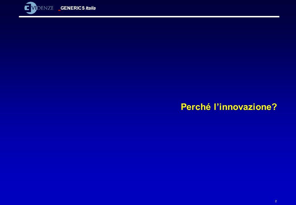 GENERICS Italia 33 Modello di Henderson-Clark Radicale (Polipropilene) Incrementale (Rasoio trilama) Architetturale (Telepass) Modulare (Geox) Natura dei componenti MigliorataMutata Migliorati Mutati Relazioni tra componenti Essere leader nei componenti non implica essere leader nei prodotti (Xerox, Rank)