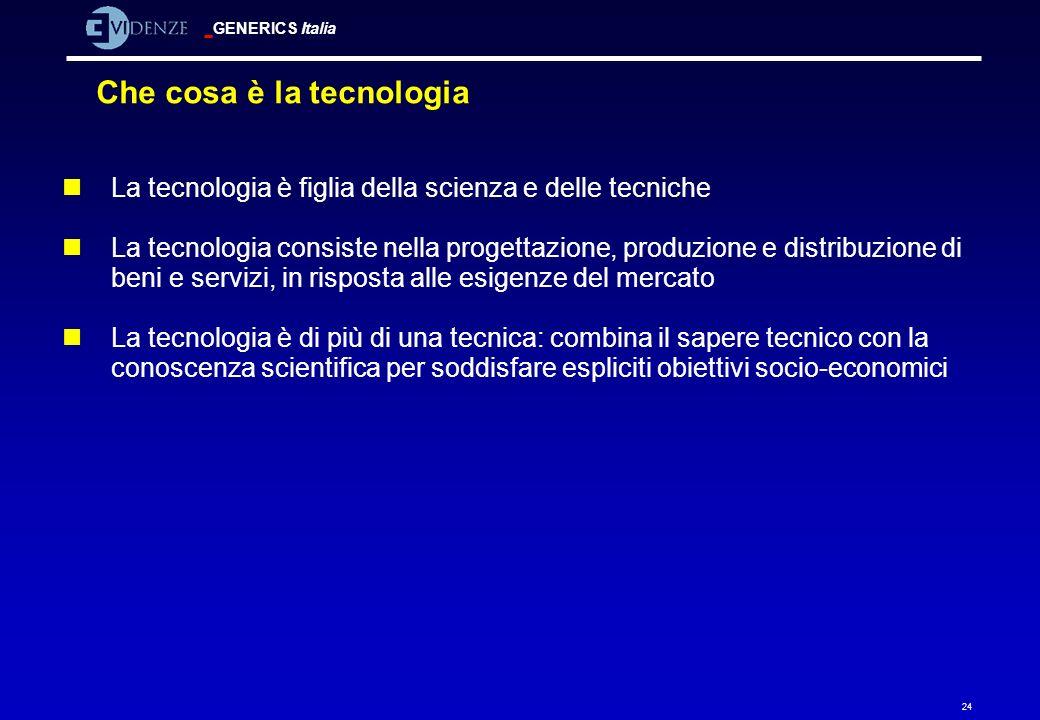 GENERICS Italia 24 Che cosa è la tecnologia nLa tecnologia è figlia della scienza e delle tecniche nLa tecnologia consiste nella progettazione, produz