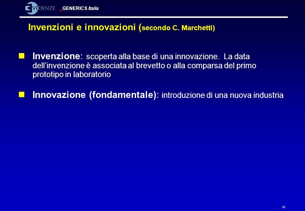 GENERICS Italia 25 Invenzioni e innovazioni ( secondo C. Marchetti) nInvenzione: scoperta alla base di una innovazione. La data dellinvenzione è assoc