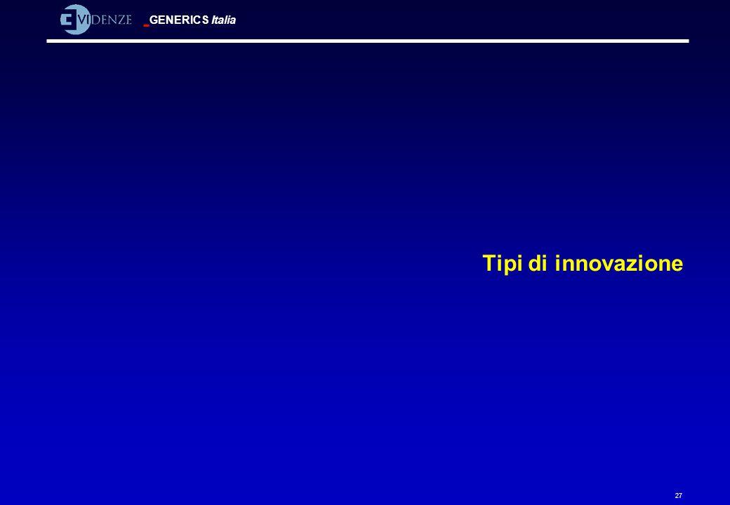 GENERICS Italia 27 Tipi di innovazione
