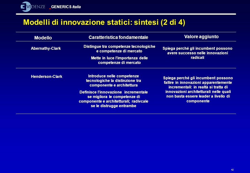 GENERICS Italia 42 Modello Caratteristica fondamentale Valore aggiunto Abernathy-Clark Distingue tra competenze tecnologiche e competenze di mercato M