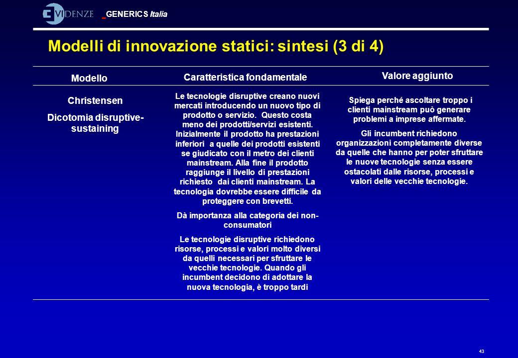 GENERICS Italia 43 Modelli di innovazione statici: sintesi (3 di 4) Modello Caratteristica fondamentale Valore aggiunto Christensen Dicotomia disrupti