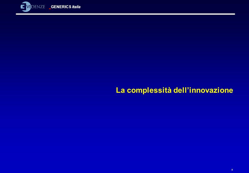 GENERICS Italia 50 Modelli di innovazione dinamici: sintesi Modello Caratteristica fondamentale Valore aggiunto Utterback-AbernathyI Ci sono tre fasi nel ciclo di vita dellinnovazione: fluida, di transizione, specifica Lemergenza di un disegno dominante è il punto critico.