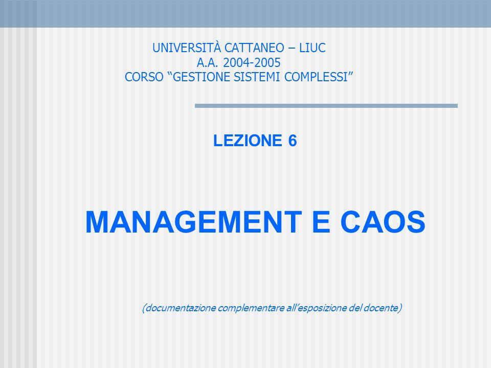 UNIVERSITÀ CATTANEO – LIUC A.A. 2004-2005 CORSO GESTIONE SISTEMI COMPLESSI LEZIONE 6 MANAGEMENT E CAOS (documentazione complementare allesposizione de