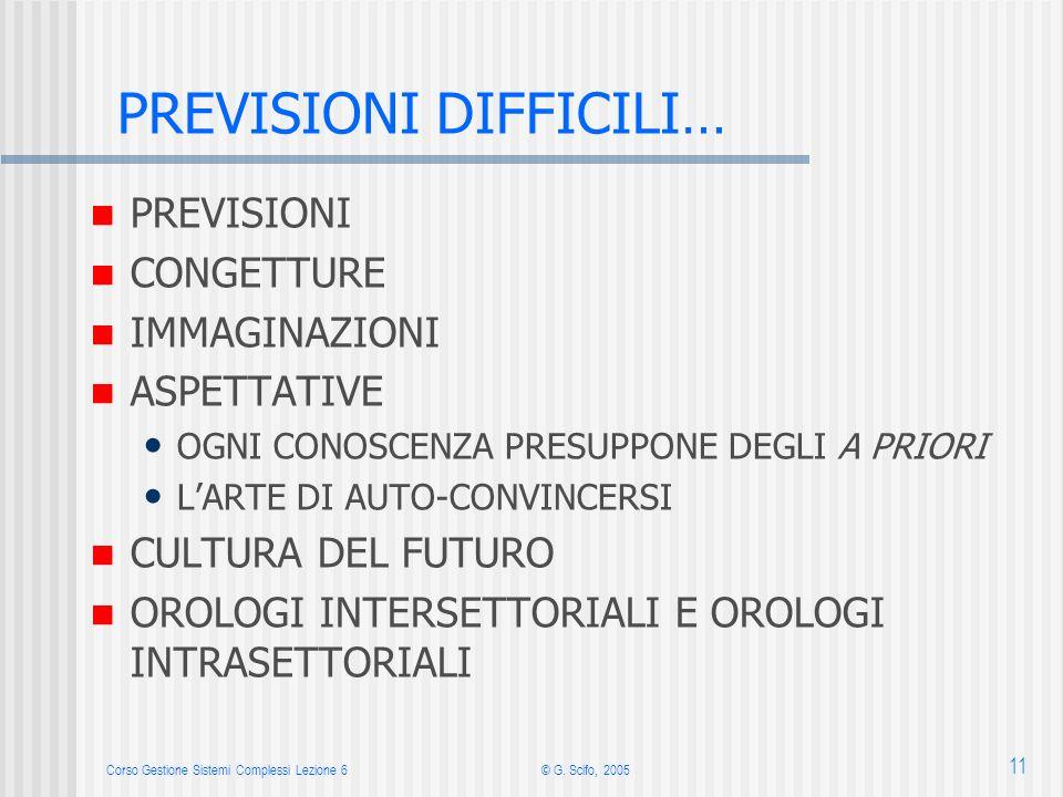 Corso Gestione Sistemi Complessi Lezione 6© G. Scifo, 2005 11 PREVISIONI DIFFICILI… PREVISIONI CONGETTURE IMMAGINAZIONI ASPETTATIVE OGNI CONOSCENZA PR