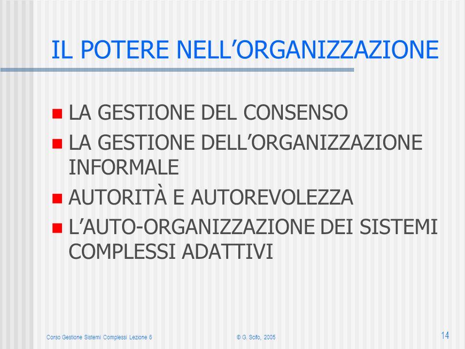 Corso Gestione Sistemi Complessi Lezione 6© G. Scifo, 2005 14 IL POTERE NELLORGANIZZAZIONE LA GESTIONE DEL CONSENSO LA GESTIONE DELLORGANIZZAZIONE INF